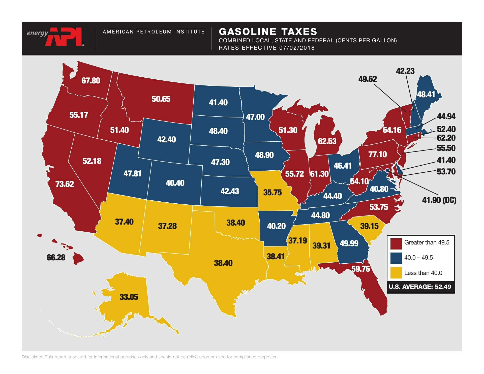 Map of the US of Gas taxes in July 2018; reason why the price of your car transport is affected
