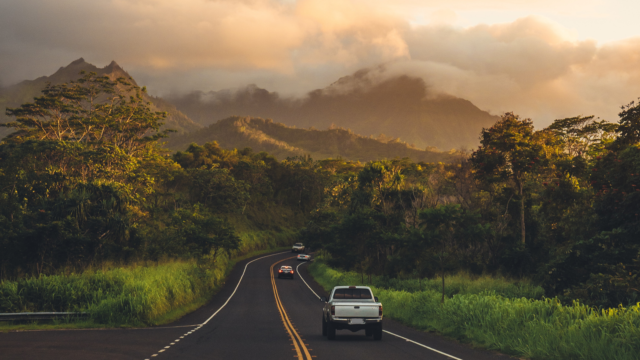 cars on the road in Hawaii