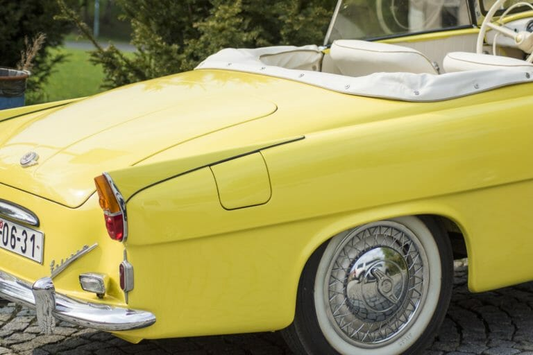 Skoda felicia roaster's yellow booty (luxury, classic, and exotic cars transport)